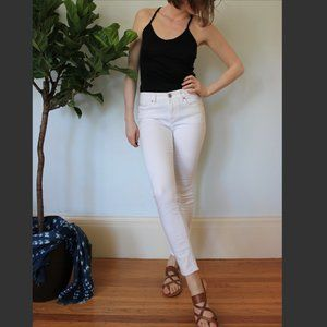 Express Mid-Rise White Skinny Jeans